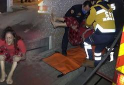 Yangın sırasında duşa girip, kendisini ıslatınca kurtuldu