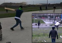 Kriket oynayan grup polisi görüce böyle kaçtı