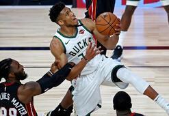NBAde Bucks, üç sayı rekoru kırdığı maçta Heati 47 sayı farkla yendi