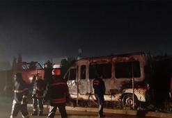 Araç hurdalığında korkutan yangın