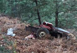 Traktör şarampole yuvarlandı, sürücü öldü