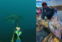 Rekortmen dalgıç 27 kiloluk dev akyayı böyle avladı