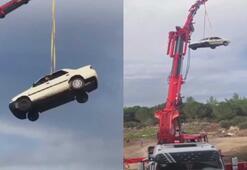 30 metre yükseklikteki otomobilde tehlikeli çekim