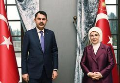 Bakan Kurum, Sıfır Atık projesi ile ilgili Emine Erdoğanı ziyaret etti