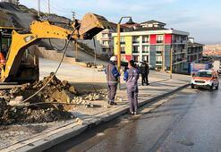 İş makinesiyle kazı sırasında doğal gaz borusu patladı