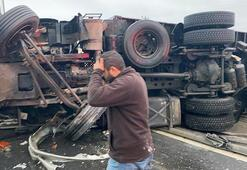 TIR otomobile çarptı 3 kişi yaralandı