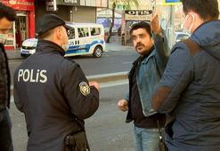 Kısıtlamayı ihlal eden maskesiz ve kimliksiz kişi, polisle tartıştı