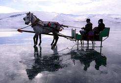 Çıldır Gölünün atlı kızakçıları da kar hasreti çekiyor