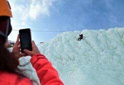 Palandökenin buz dağı adrenalin tutkunlarına ev sahipliği  yapıyor