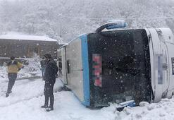 Yolcu otobüsü devrildi Bölgeden ilk görüntüler