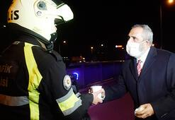 Yavuz Bingöl denetim yapan polislere çorba dağıttı