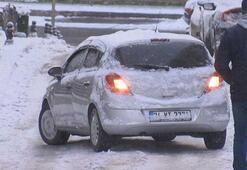 Ümraniyede araçlar buzlu yollarda kaydı, sürücüler zor anlar yaşadı