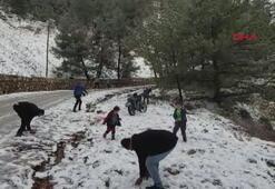 Datçaya iki yıl aradan sonra kar yağdı