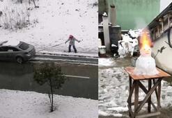 Bursa'da ilginç kar manzaraları