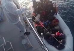 Yunanistanın Türk karasularına ittiği göçmeler kurtarıldı