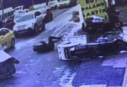 Şişlide sinyalsiz dönüş kazası kamerada