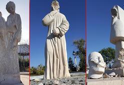Antalyada heykel terörü Bu kez kafaları ve parmakları kırıldı