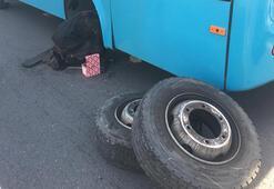 Seyir halindeki otobüsten fırlayan tekerlek dehşet saçtı
