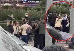 Kadınlar cadde ortasında birbirine girdi