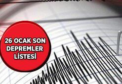 En son nerede kaç şiddetinde deprem oldu Kandilli Rasathanesi 26 Ocak son depremler listesi...