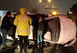 Kocaelide otomobil devrildi, sürücü yaralandı