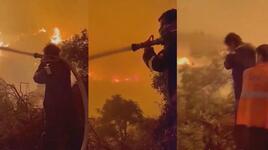 İbrahim Çelikkol, itfaiyecilerle yangın yerinde