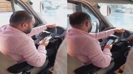 Minibüs şoförünün tehlikeli sosyal medya tutkusu