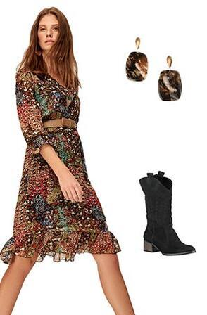 Elbise-Çizme Kombini