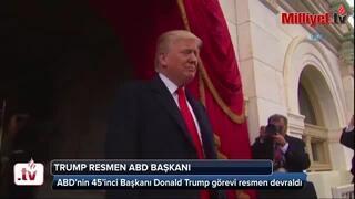 Son dakika... Trump başkanlık koltuğuna oturdu Eşi benzeri görülmedi...