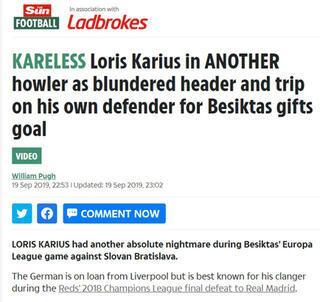 Karius, İngilterenin dilinde Facia, felaket...