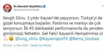 Kayseri Büyükşehir Belediye Başkanı Büyükkılıç'tan kaleci Lung'a fahri hemşehrilik teklifi