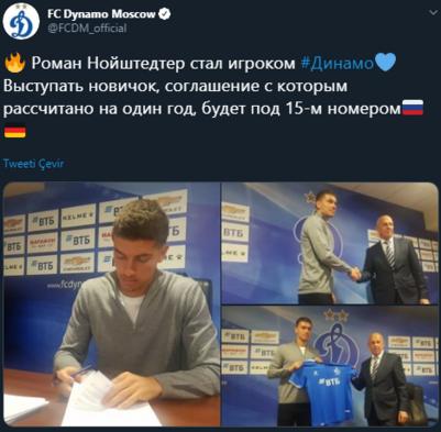 Roman Neustadter resmen Dinamo Moskovada
