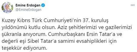 Emine Erdoğan, KKTCnin 37nci kuruluş yılını kutladı