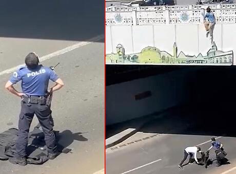 Genç kızın intiharını önleyen polisler, yere çelik yeleklerini serdi