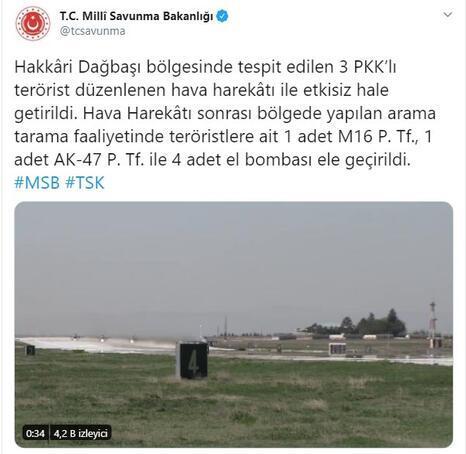 MSB duyurdu 3 PKK'lı terörist etkisiz hale getirildi