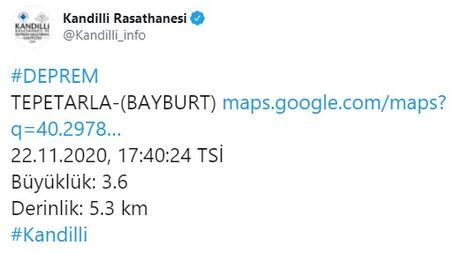 Bayburtta deprem Kandilliden son dakika açıklaması