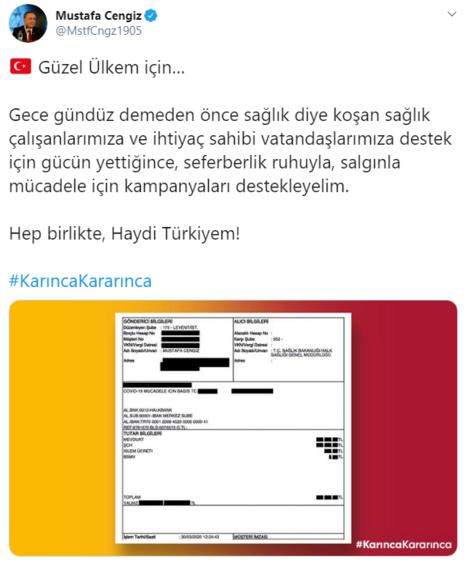 Mustafa Cengizden sağlık çalışanları ve ihtiyaç sahiplerine destek