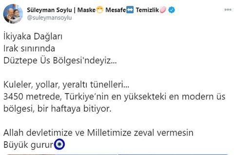 Bakan Soylu: Türkiyenin en yüksekteki üs bölgesi bir haftaya bitiyor