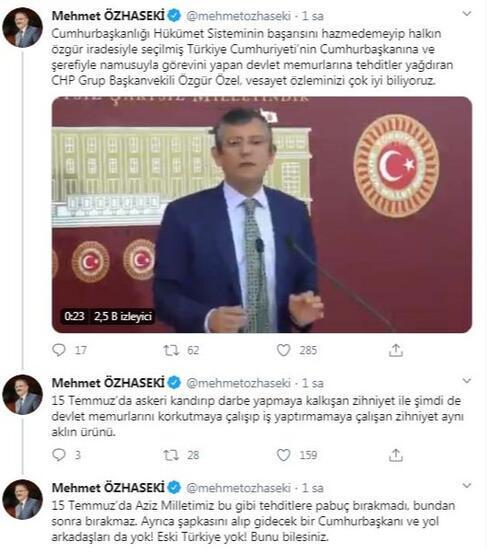 AK Partili Özhasekiden CHPli Özele tepki
