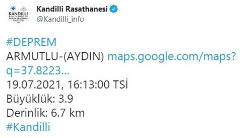 Son dakika... Aydında 3.9 büyüklüğünde deprem