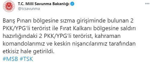 Son dakika... MSB duyurdu 4 PKKlı terörist etkisiz hale getirildi