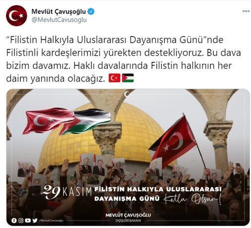 Bakan Çavuşoğlundan Filistin mesajı