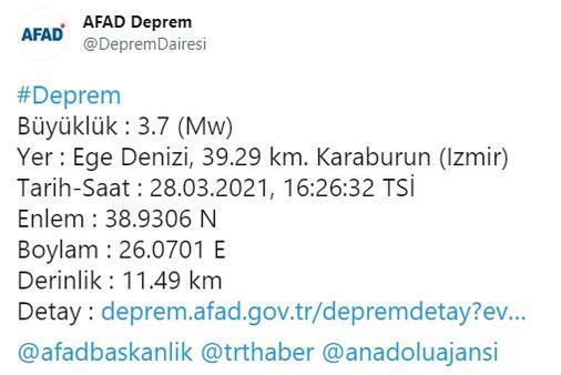 Son dakika... İzmir Karaburun açıklarında deprem Büyüklüğü...