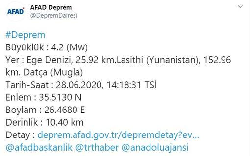 Son dakika: Akdenizde 4.2 büyüklüğünde deprem