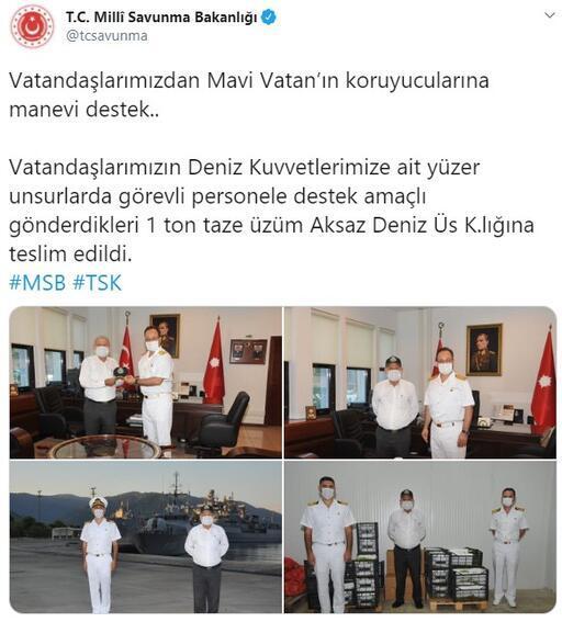 MSB: Vatandaşlarımızın gönderdiği 1 ton üzüm, teslim edildi