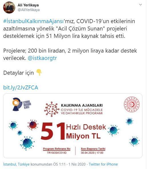 İstanbul Valisi duyurdu 51 milyon liralık destek
