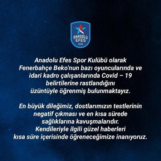 Son dakika | Fenerbahçe Beko: Bazı basketbolcularda corona virüs belirtilerine rastlandı