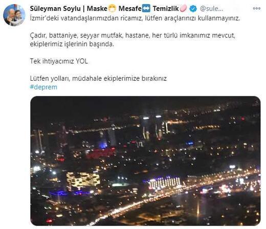 Bakan Soylu: İzmirdeki vatandaşlarımızdan ricamız, lütfen araçlarınızı kullanmayınız
