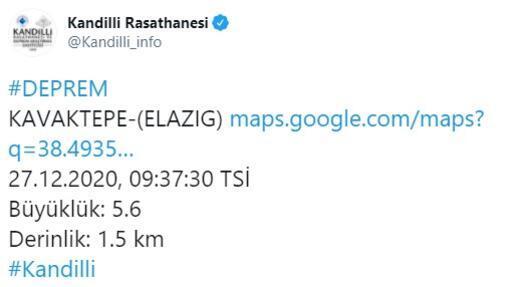 Son dakika... Elazığda 5.3 büyüklüğünde deprem