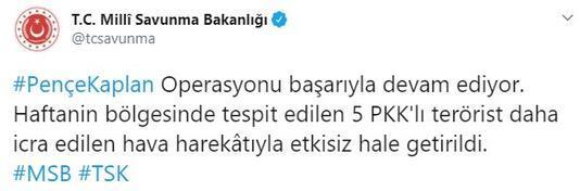 Son dakika haberleri: Pençe-Kaplan Operasyonu 5 PKKlı etkisiz hale getirildi